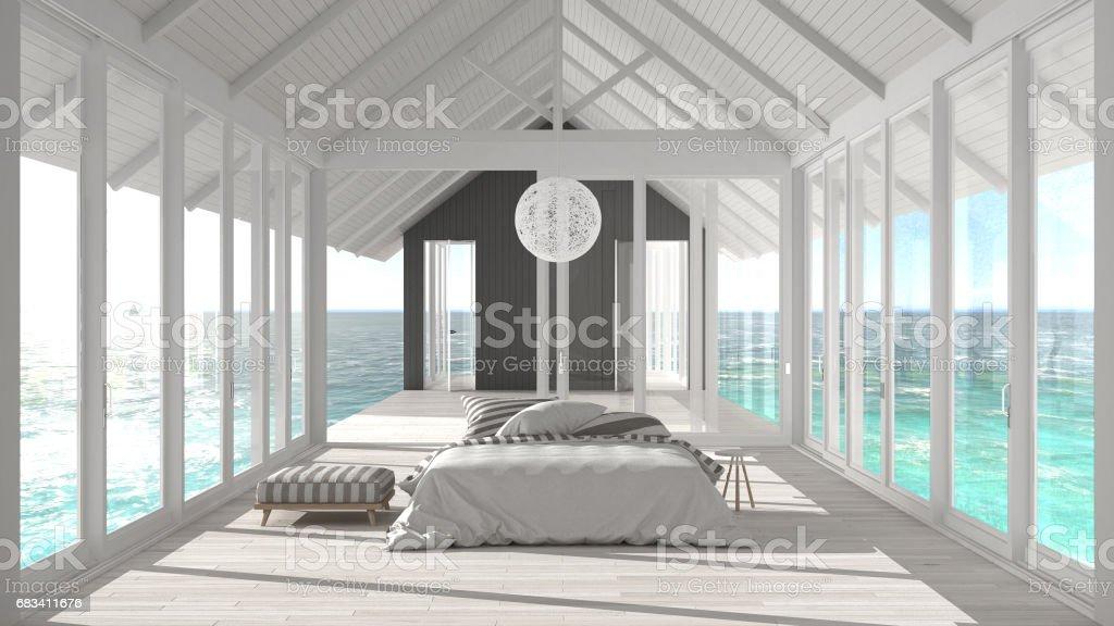 Dormitorio Minimalista Con Grandes Ventanales Vidrieras Y