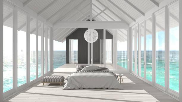 minimalistische zimmer mit großen fenstern, glasmalerei und terrasse am meer ozean panorama, schiff-innenarchitektur - nautisches schlafzimmer stock-fotos und bilder