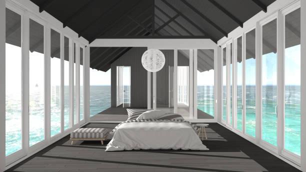 minimalist bedroom with big windows, stained glass and terrace on sea ocean panorama, ship interior design - nautisches schlafzimmer stock-fotos und bilder