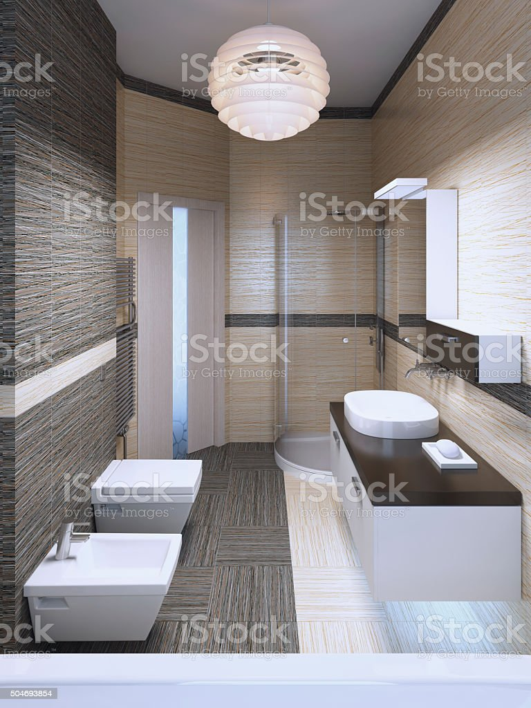 Minimalist bedroom with double colored tile stock photo