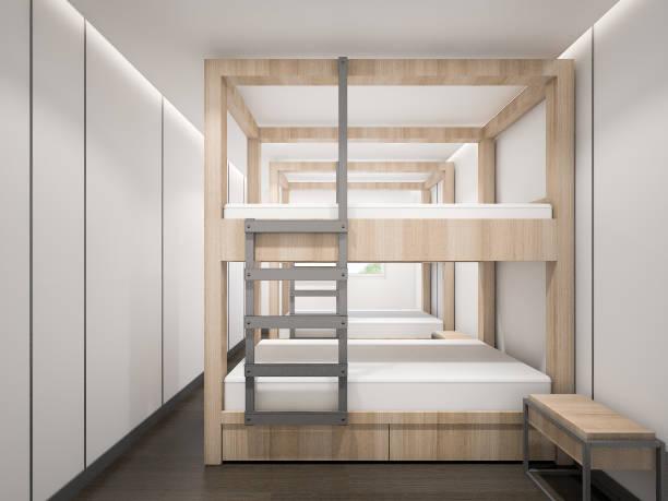 minimalistische schlafzimmer mit etagenbetten aus holz, 3d rendering - etagenbett weiss stock-fotos und bilder