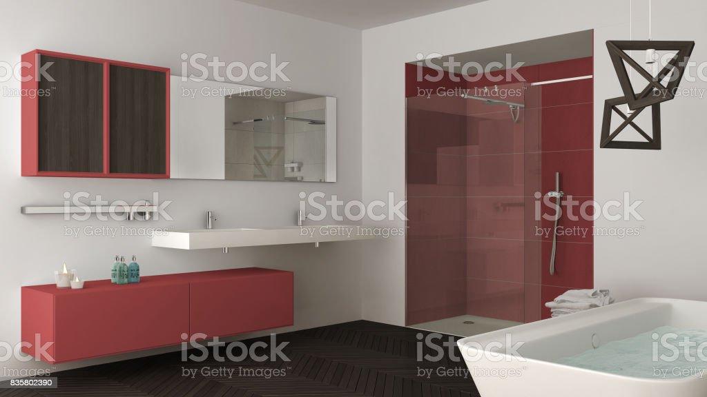 Witte Badkamer Wastafel : Minimalistische lichte badkamer met dubbele wastafel douche en bad