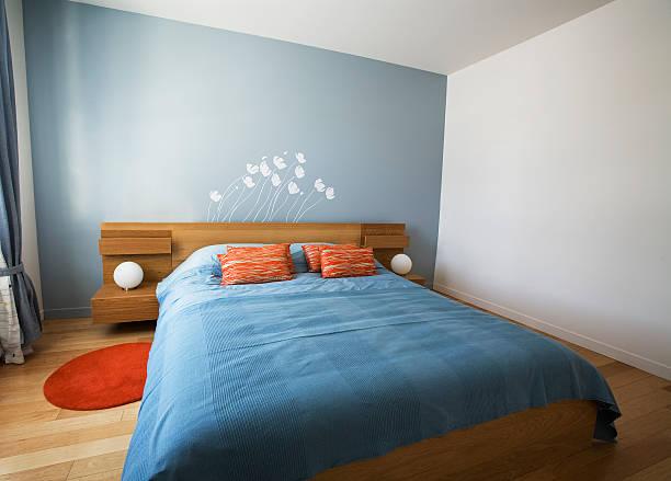 Minimalist designed summer bedroom stock photo