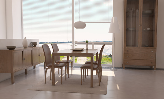 Minimalist Dining Room With Sea View