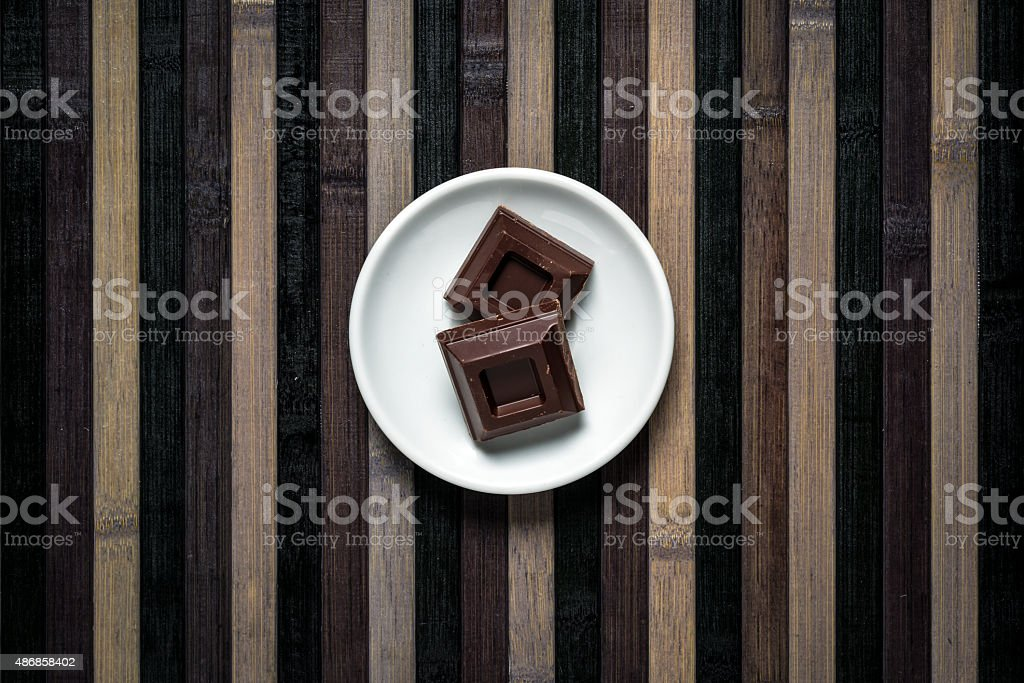 Minimalist food top view: Chocolate stock photo