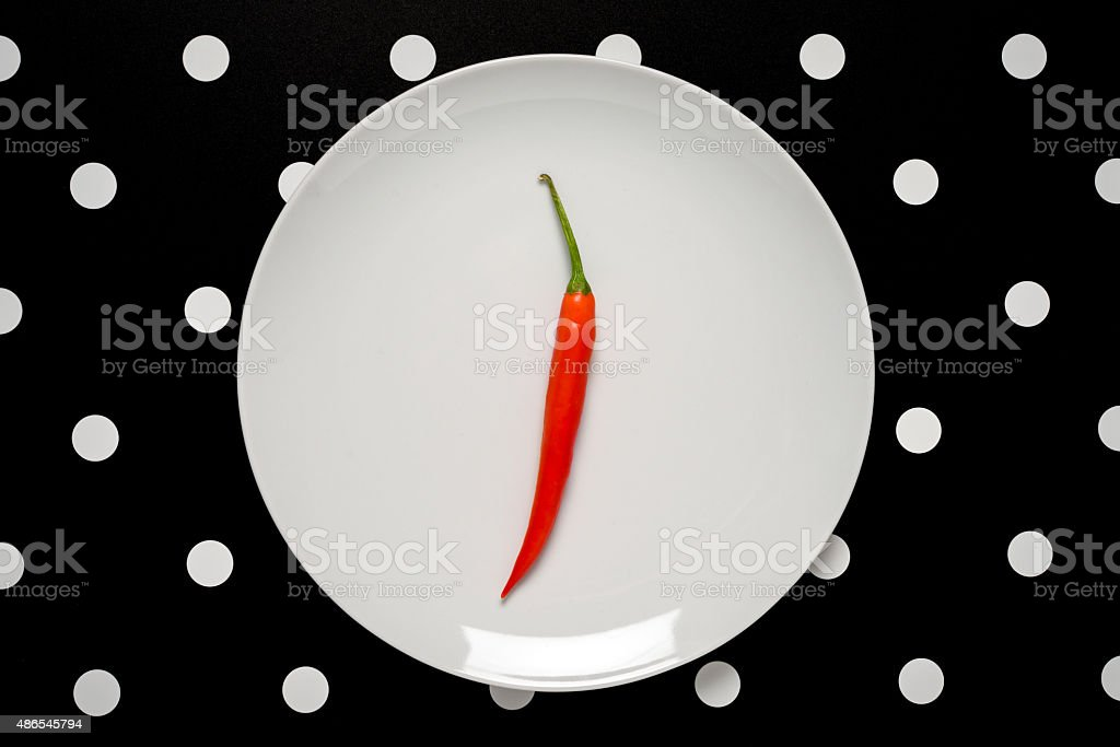 Minimalist food top view: Red chili pepper stock photo