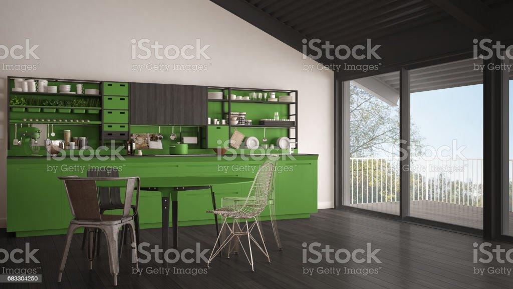 Minimalistisk grå och grön trä kök, stora panoramafönster, klassisk skandinavisk inredning royaltyfri bildbanksbilder