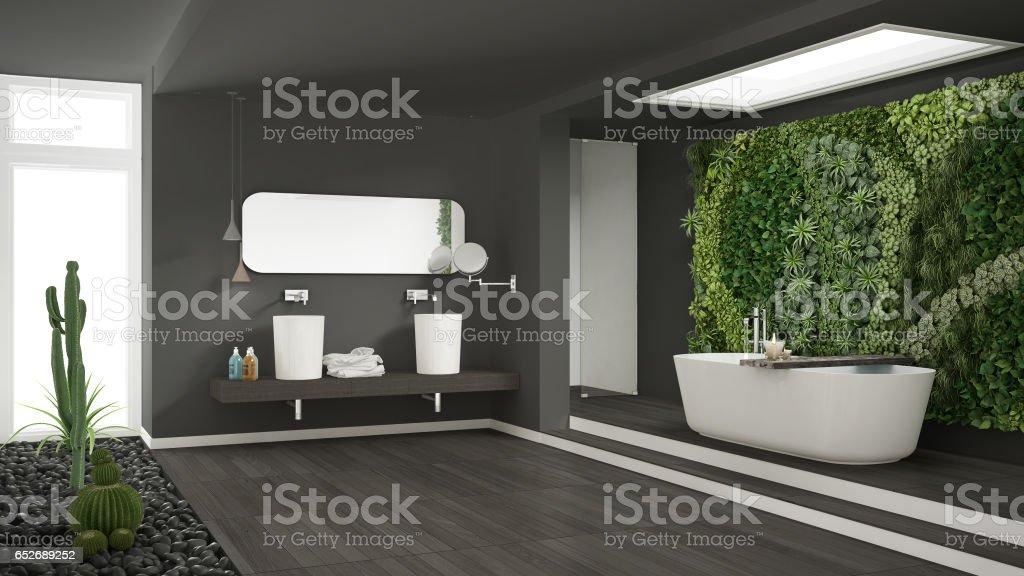 Minimalistische graue badezimmer mit vertikalen und saftige garten