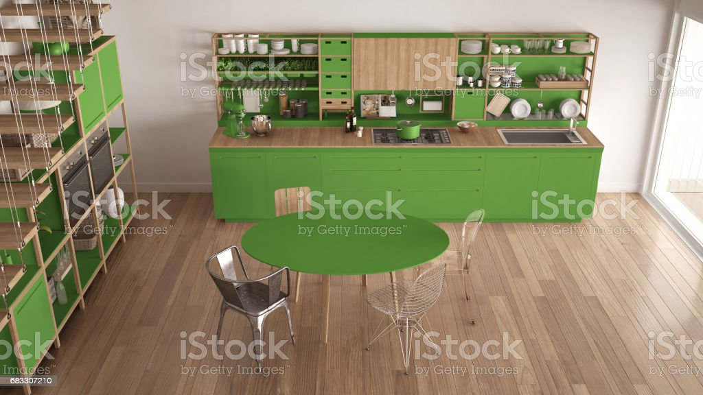 Minimalist green and white wooden kitchen, loft with stairs, classic scandinavian interior design, top view foto stock royalty-free