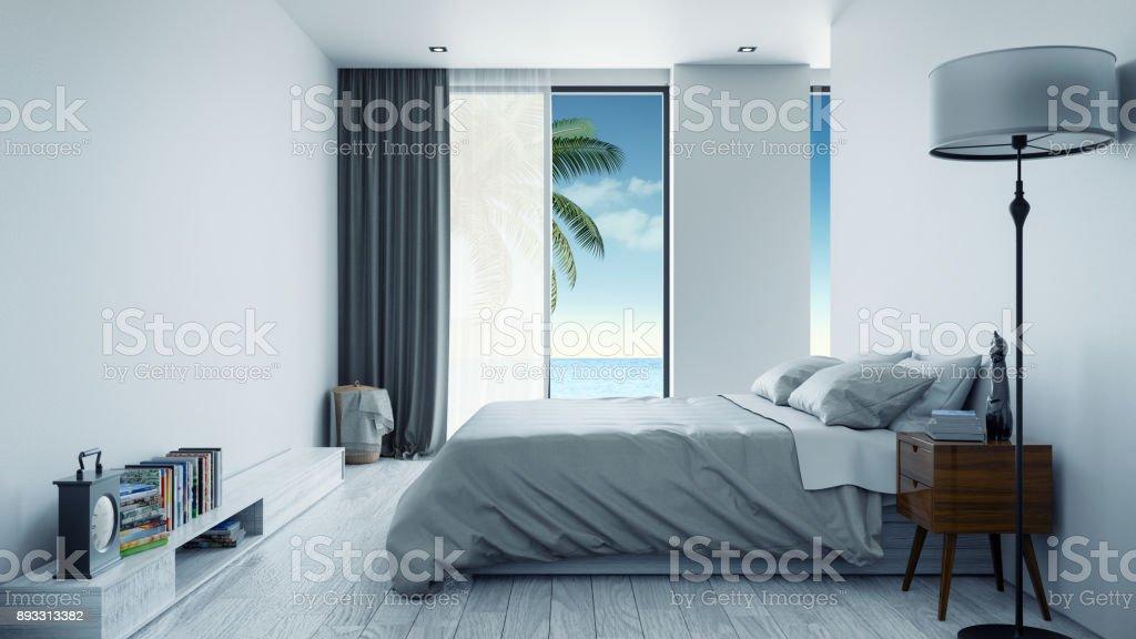 Minimalistischen interieur schlafzimmer designkonzept sommer