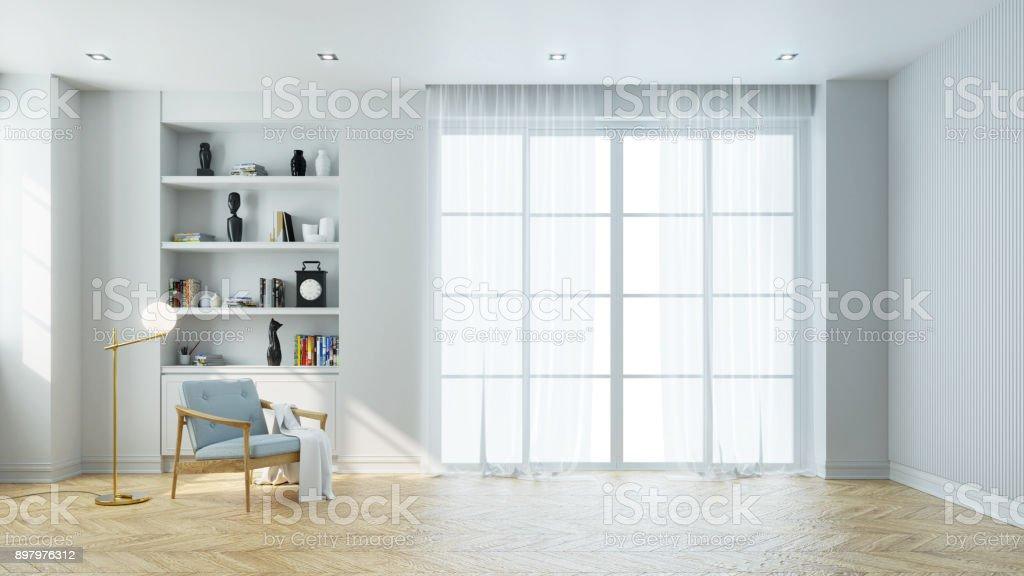 Minimalistische Einrichtung Von Wohnzimmer, Blaue Sessel In Der Nähe Von  Gold Lampe Und Holztisch Auf