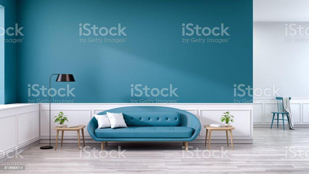 Interior Minimalista De Sofá De La Sala De Estar Azul Con Mesa De ...
