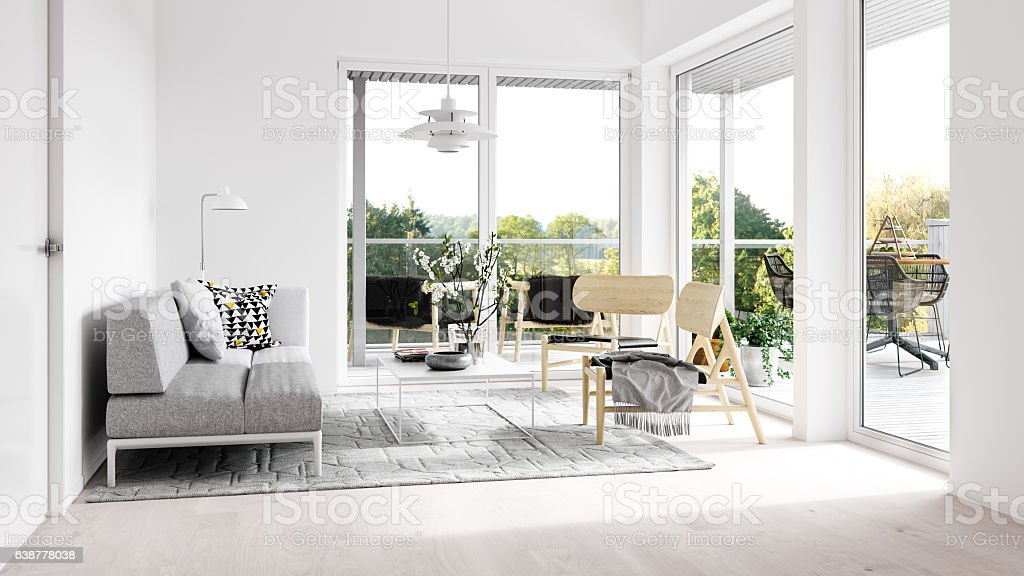 Minimalist interior with terrace stock photo