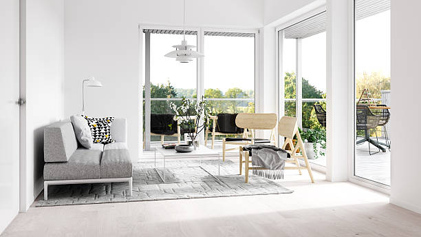 Minimalist interior with terrace - foto stock