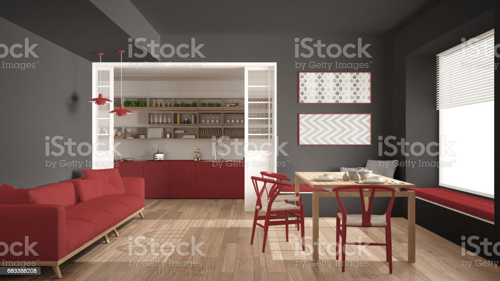 Pleasant Minimalist Kitchen And Living Room With Sofa Table And Pdpeps Interior Chair Design Pdpepsorg
