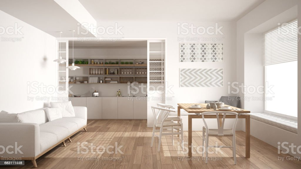 Minimalist Kitchen And Living Room With Sofa Table And ...