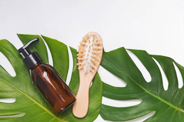 Minimalist lifestyle hair care. Shampoo and wooden hair brush on monstera leaves. stock photo