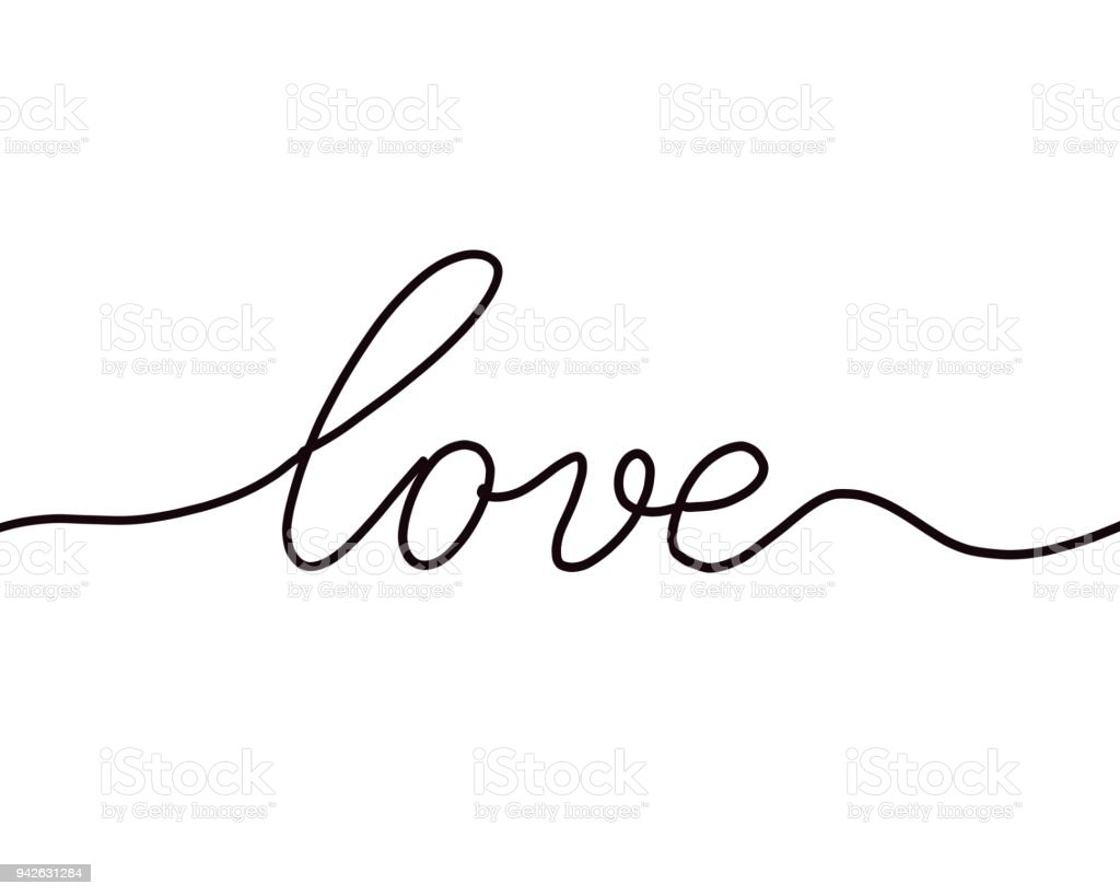 Minimalist Line Drawing Of The Word Love Stock Photo