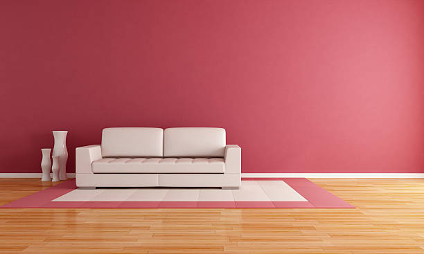Royalty Free Red Sofa In A Pink Living Room Pictures, Images and ...