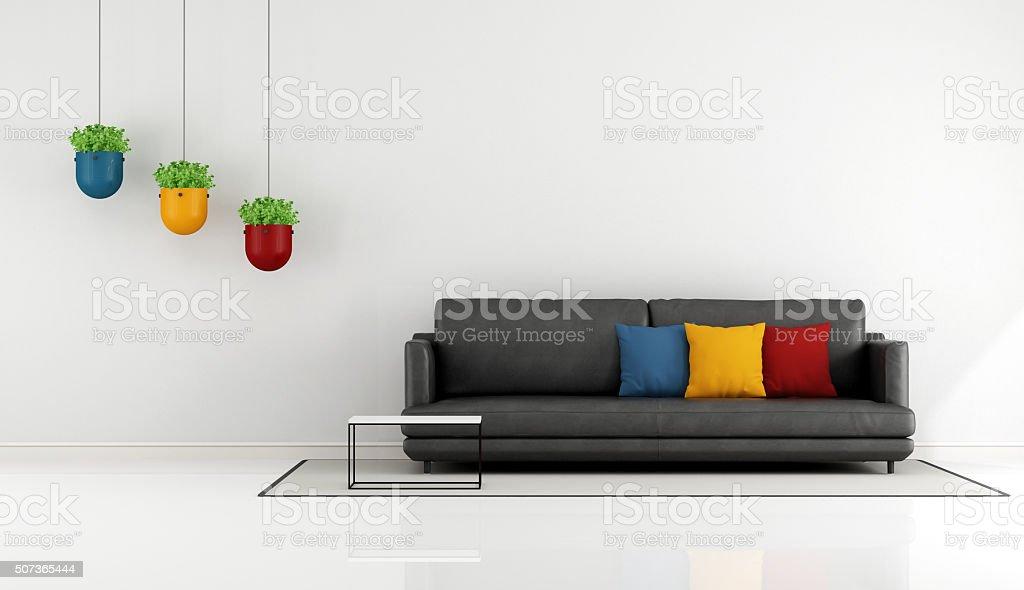 Minimalist living room stock photo