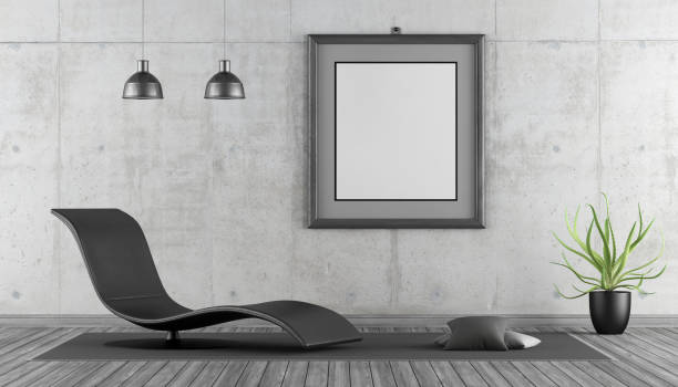 Minimalist living room Minimalist living with black chaise lounge, empty frame and concrete wall - 3d rendering  chaise longue stock pictures, royalty-free photos & images