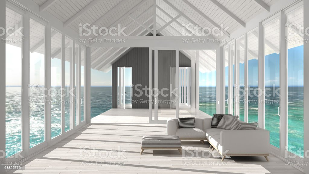 Minimalist living room with big windows, stained glass and terrace on sea ocean panorama, ship interior design 免版稅 stock photo
