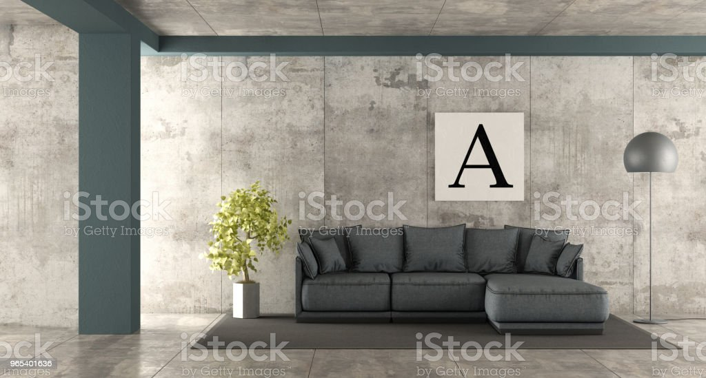 Minimalist living room with blue sofa royalty-free stock photo