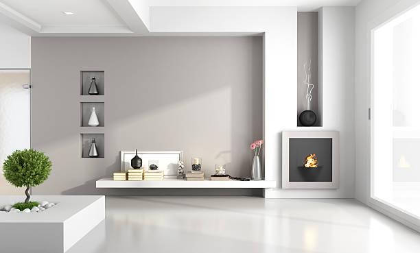 minimalistischen wohnzimmer mit kamin - kamin weiß stock-fotos und bilder