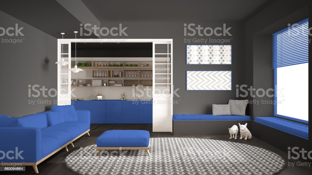 Minimalist living room with sofa, big round carpet and kitchen in the background, gray and blue navy modern interior design foto de stock royalty-free