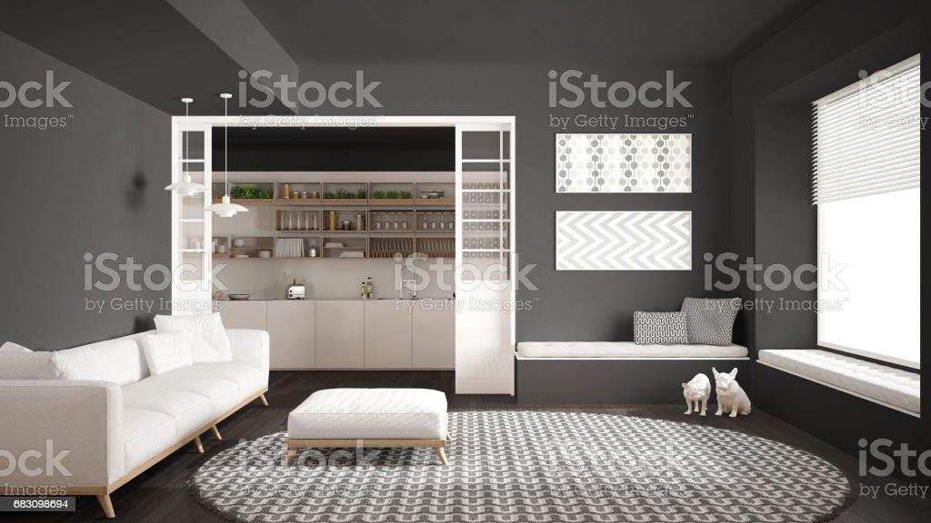 Minimalist Living Room With Sofa Big Round Carpet And ...