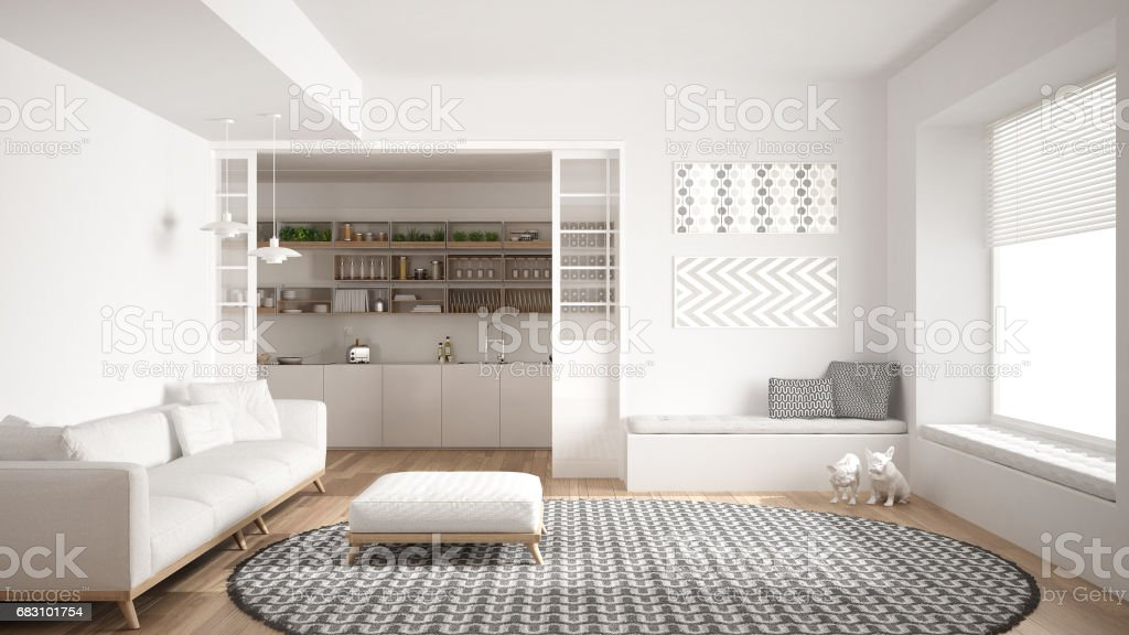 Minimalist Living Room With Sofa, Big Round Carpet And Kitchen In The  Background, White