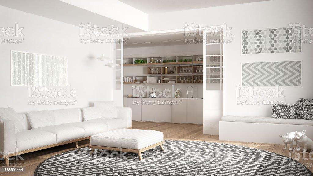 Minimalistischen Wohnzimmer Mit Sofa Großer Runder Teppich Und Küche In Den  Hintergrund Weiße Moderne Innenarchitektur Stockfoto und mehr Bilder von ...