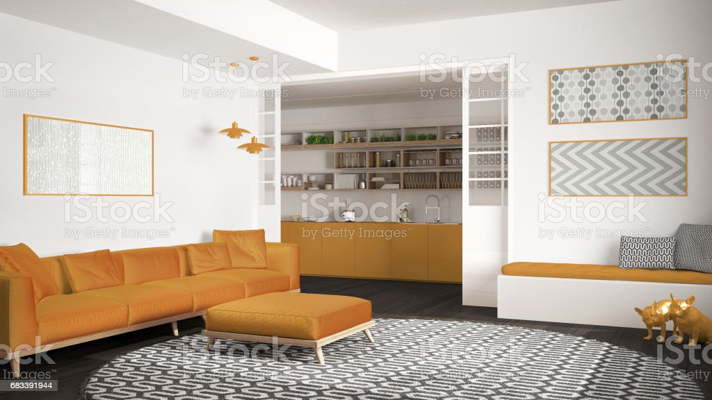 Minimalist Living Room With Sofa Big Round Carpet And Kitchen In The  Background White And Yellow Modern Interior Design Stock Photo - Download  Image ...