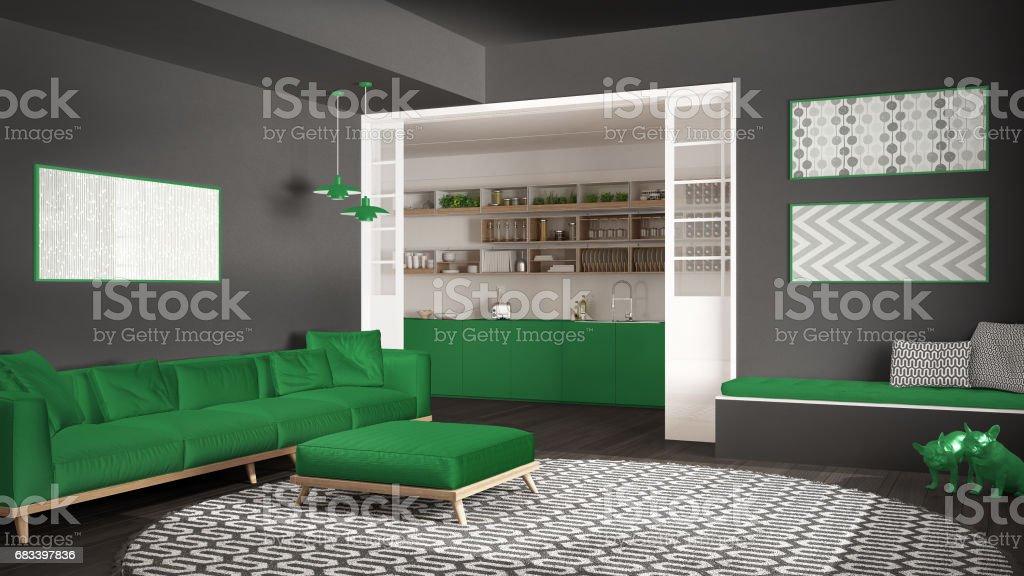 Minimalistischen Wohnzimmer Mit Sofa Großer Runder Teppich ...