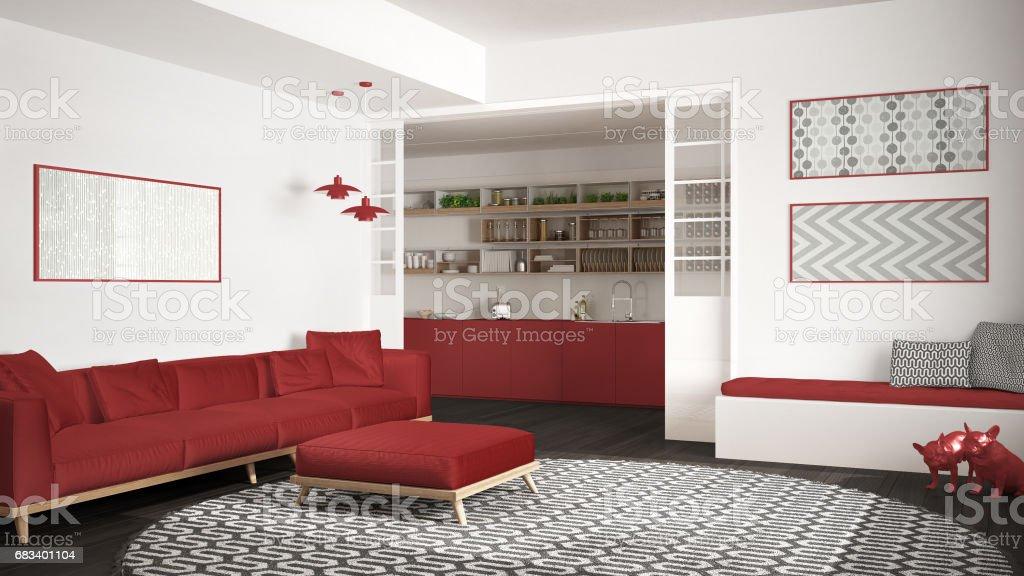 Minimaliste De Salon Avec Canapé, Grand Rond Tapis Et Cuisine Dans Le Design  Intérieur Modern