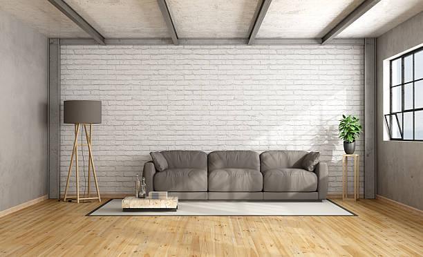 Minimalist loft interior stock photo
