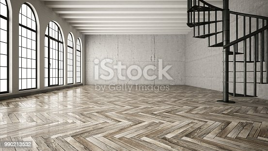 Empty space with parquet and stairs