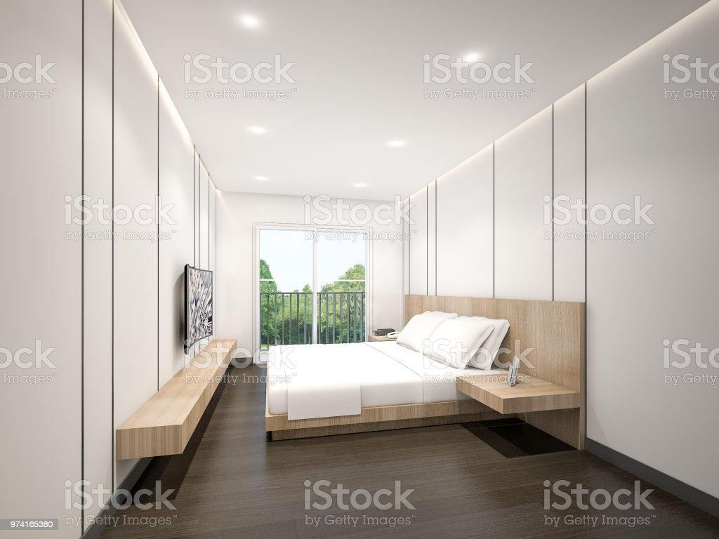 Minimalist Master Bedroom 3d Rendering Stock Photo - Download Image ...