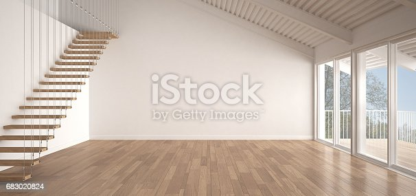 istock Minimalist mezzanine loft, empty industrial space, metal roofing and parquet floor, scandinavian classic white interior design with garden panorama 683020824