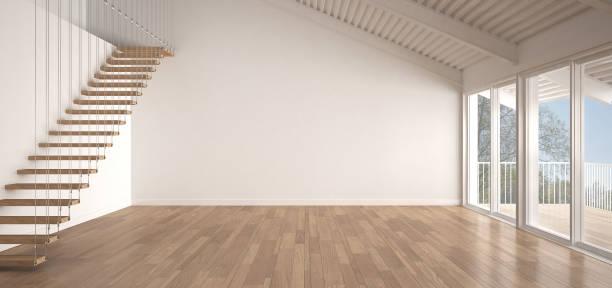 Minimalist mezzanine loft, empty industrial space, metal roofing and parquet floor, scandinavian classic white interior design with garden panorama stock photo