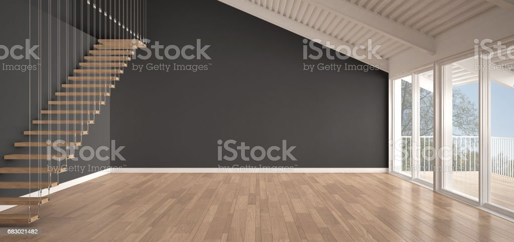 Minimalist Mezzanine Loft Empty Industrial Space Metal Roofing And ...
