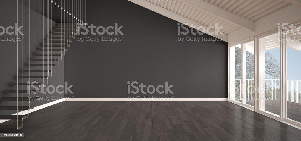 Minimalist Mezzanine Loft Empty Industrial Space Metal Roofing And Parquet Floor Scandinavian Classic