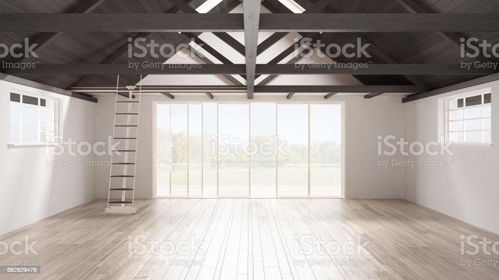 Minimalistische mezzanine loft lege industriële ruimte houten daken