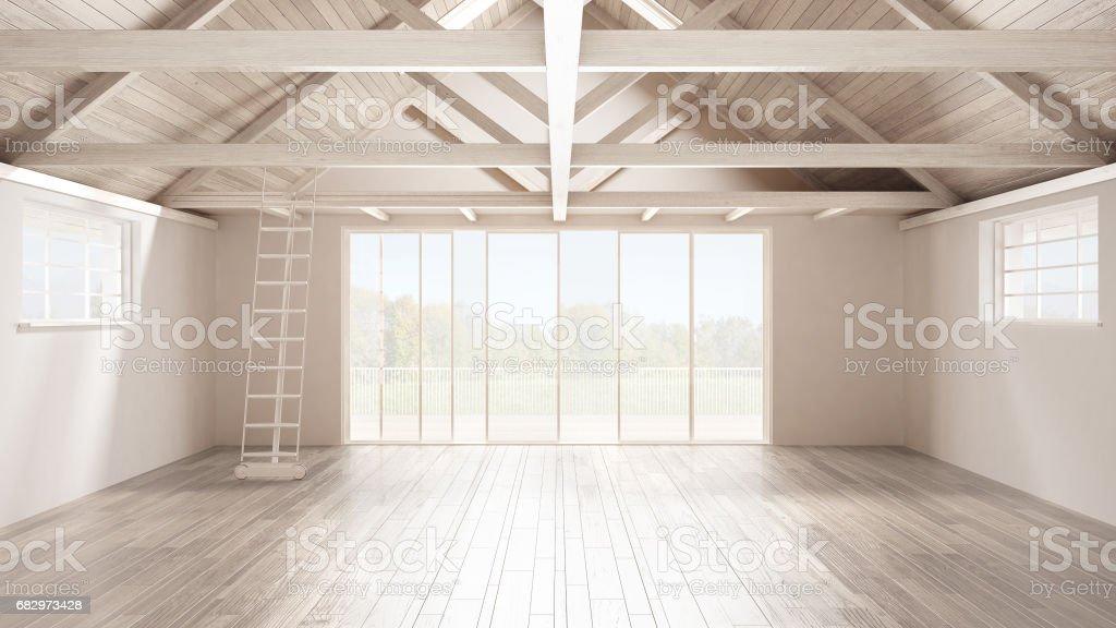 Minimalist mezzanine loft, empty industrial space, wooden roofing and...