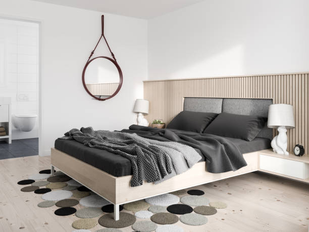 minimalist modern bedroom - nelleg stock photos and pictures