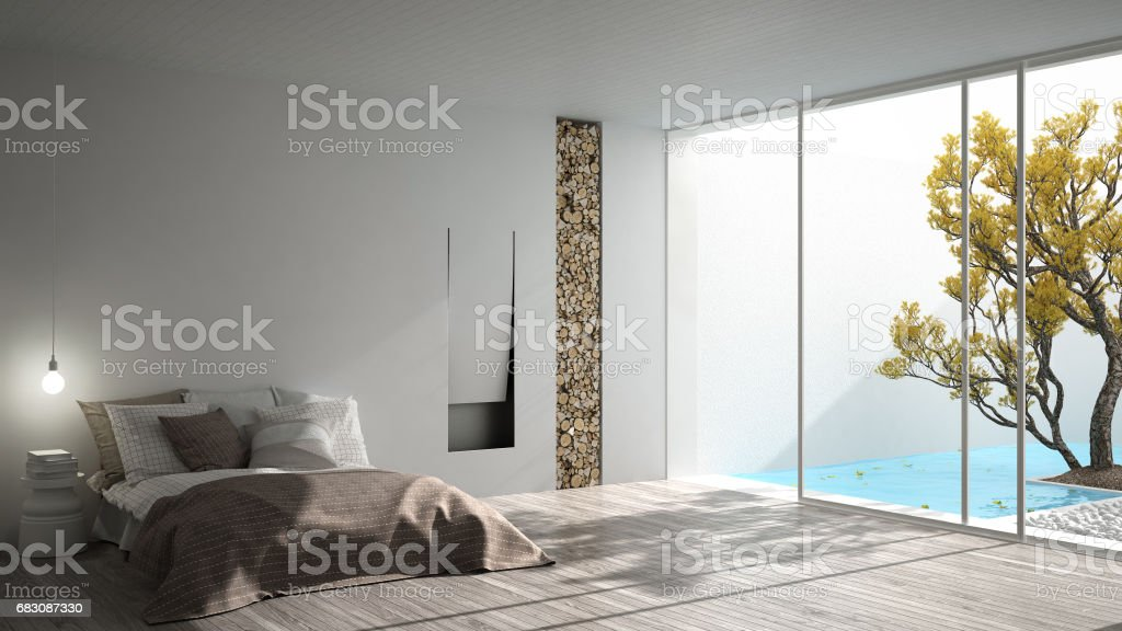 Minimalist modern bedroom with big window showing garden and swimming pool, white interior design foto de stock royalty-free