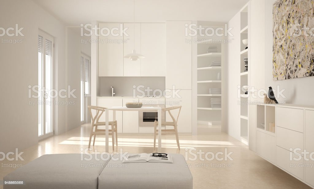 Cocina Luminosa Moderno Minimalista Con Mesa De Comedor Y ...