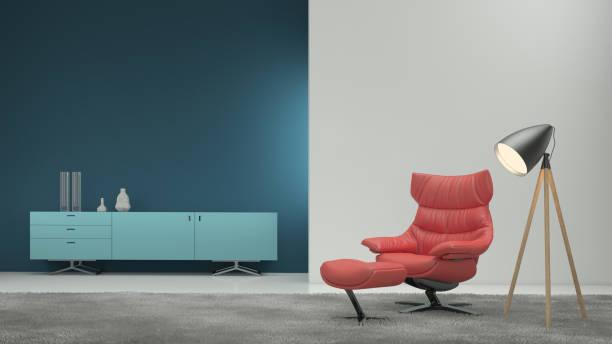 minimalistische moderne interieur wohnzimmer - sessel türkis stock-fotos und bilder