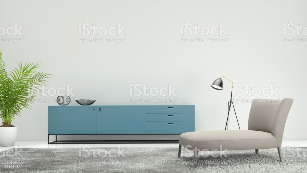 Minimalist modern interior living room stock photo