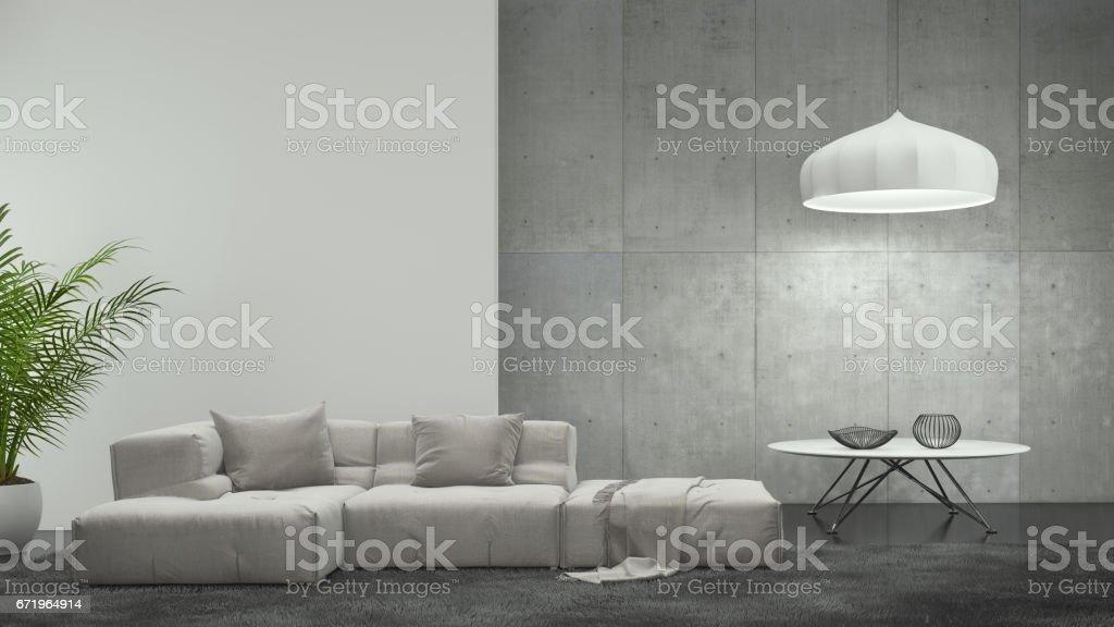Minimalistische moderne interieur wohnzimmer stock fotografie und
